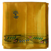 Mustard Handpainted Patachitra Synthetic Silk Saree Made in Odisha Raghurajpur AJODI000573