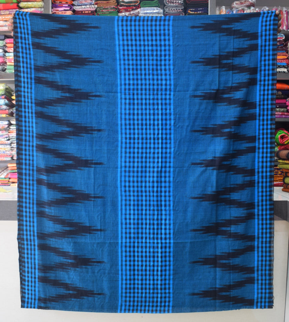 Shop Check Design Sky Blue sambalpuri handloom cotton saree womens online shopping odisha AJODI003729