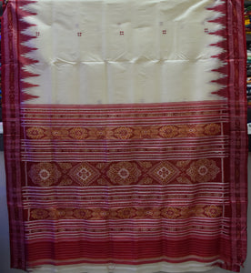 White Colour Handloom Silk Saree From Nuapatna Odisha AJODI001697