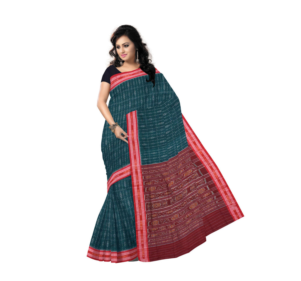 Ikat Sambalpuri Handloom cotton saree with Green body and red border with Maroon pallu