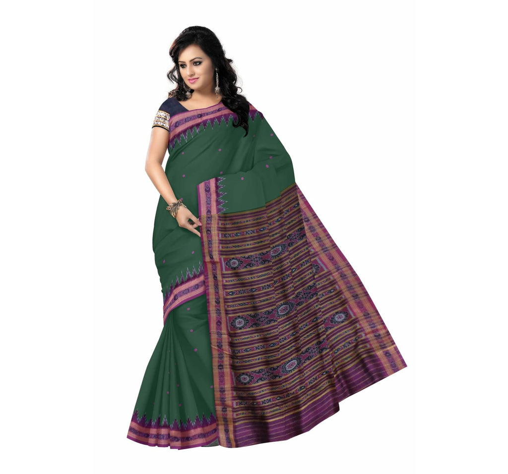 Handloom Silk Saree with Deep Green body and Purple Pallu From Nuapatna Odisha