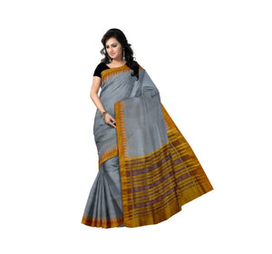 Temple design Light Grey Ikat Handloom Khandua Silk saree Nuapatna odisha (AJODI000005)
