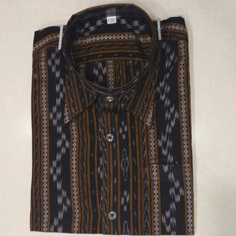 Black Ikat Handloom Men's Cotton Half Shirt From Sambalpur Odisha AJODI002140