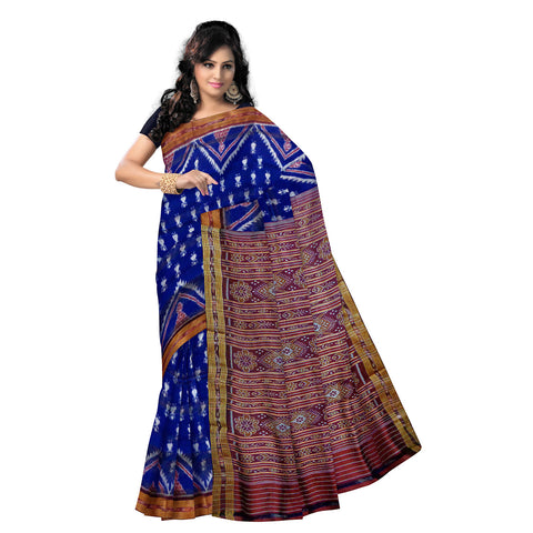 Ink Blue colour Temple Design Handloom Ikat Silk Saree from Nuapatna