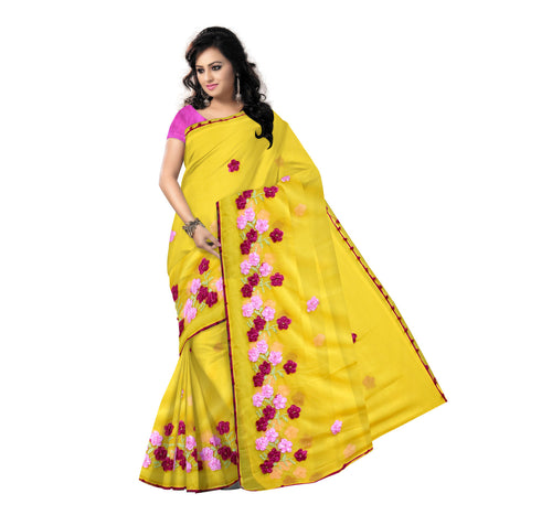 Hand Made Ribbon work yellow Georgette Handloom Silk Saree for evening wear(AJODI000057)