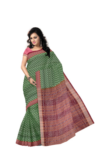 Green with Maroon Handloom Bomkai cotton saree with Blousepiece made in Odisha Sonepur AJODI001213