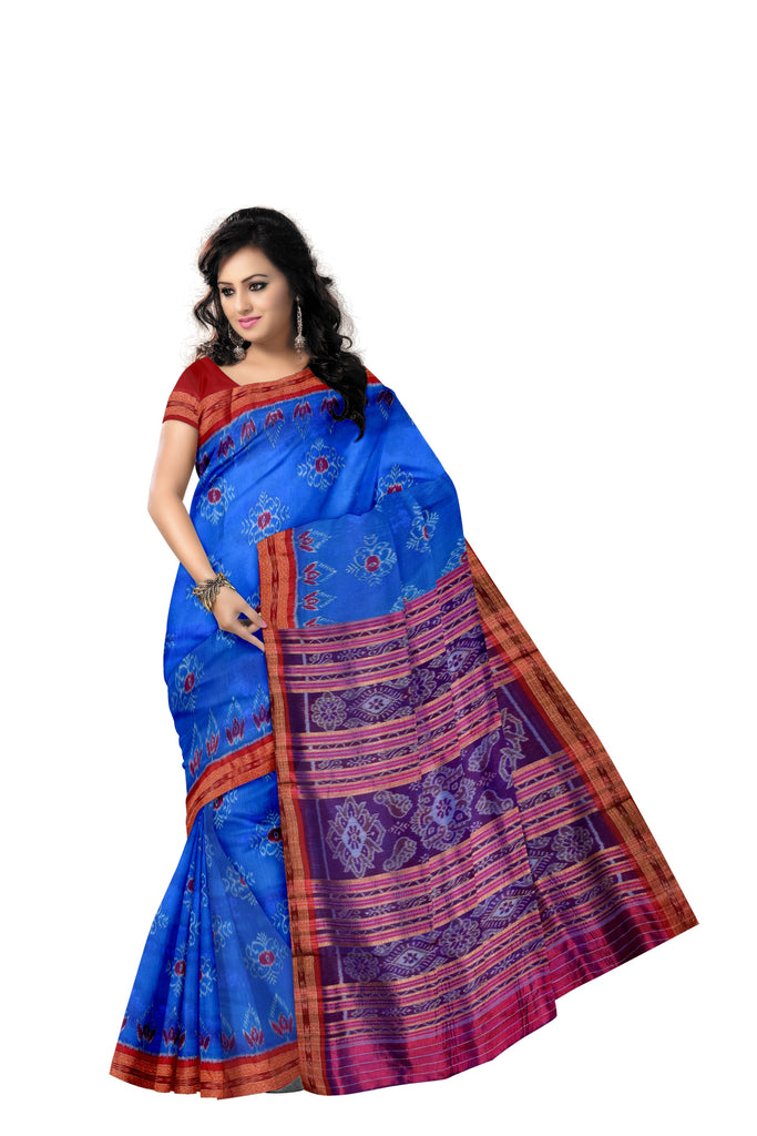 Flowers  Design Copper Sulphate With Red Handloom Silk Saree Made In  Odisha Nuapatana AJODI001297