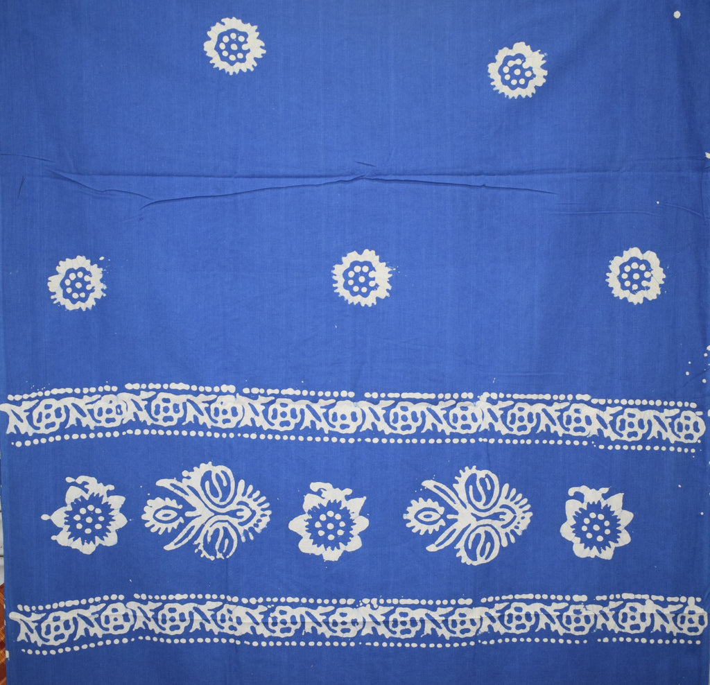 Navy Blue with white Batik Printed Handloom Cotton Dress Material of West Bengal AJODI001471
