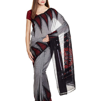 Grey Kargil Nuapatna Odisha Handloom Cotton Saree AJODI002531