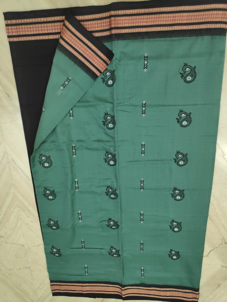 Green with Black Odisha Handloom Sambalpuri bomkai cotton saree with matching blouse piece