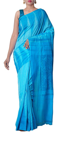 Odisha Handloom Women's Cotton Saree Nuapatna Kargil Blue AJODI002530
