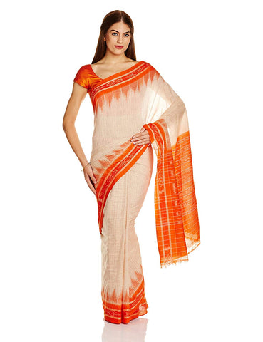 Cream Nuapatna Jharana design Cotton Odisha Handloom Saree AJODI002595