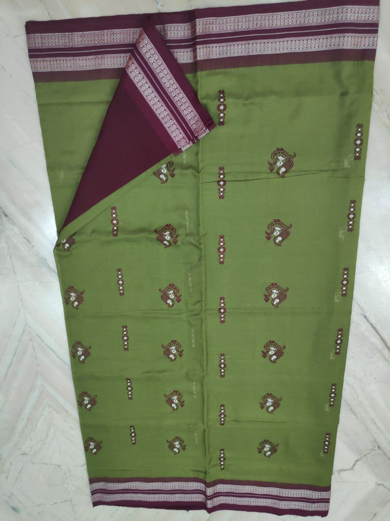 Olive Green with Maroon Sambalpuri bomkai cotton saree with matching blouse piece