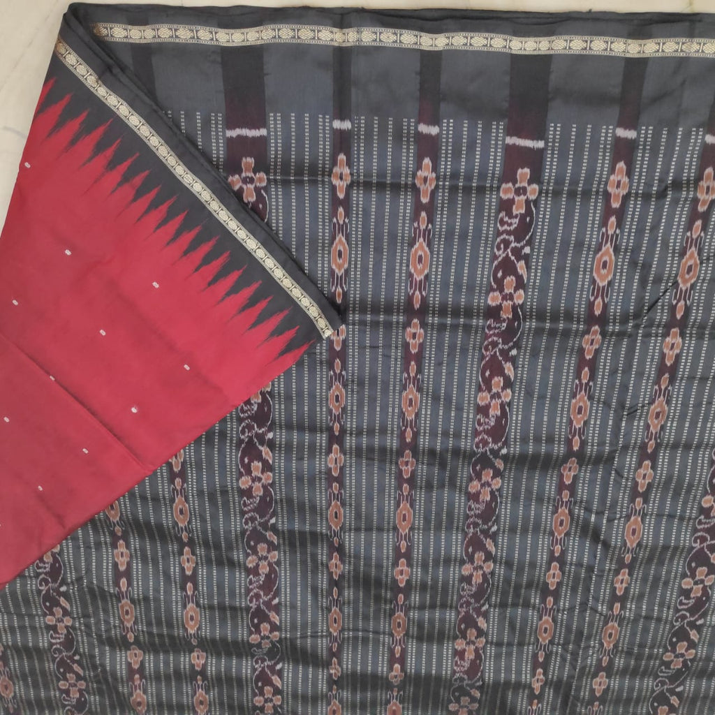 Traditional Odisha Handloom sambalpuri silk saree maroon colour with matching blouse piece