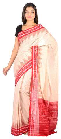 Odisha Handloom Nuapatna Women's Jharana Cotton Saree Off-White AJODI002596
