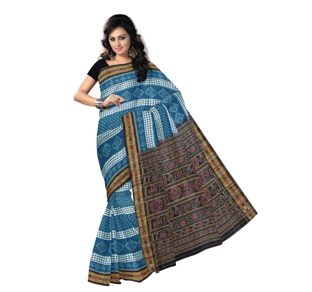 Sea green colour Sambalpuri Handloom Cotton Saree for Casual Use
