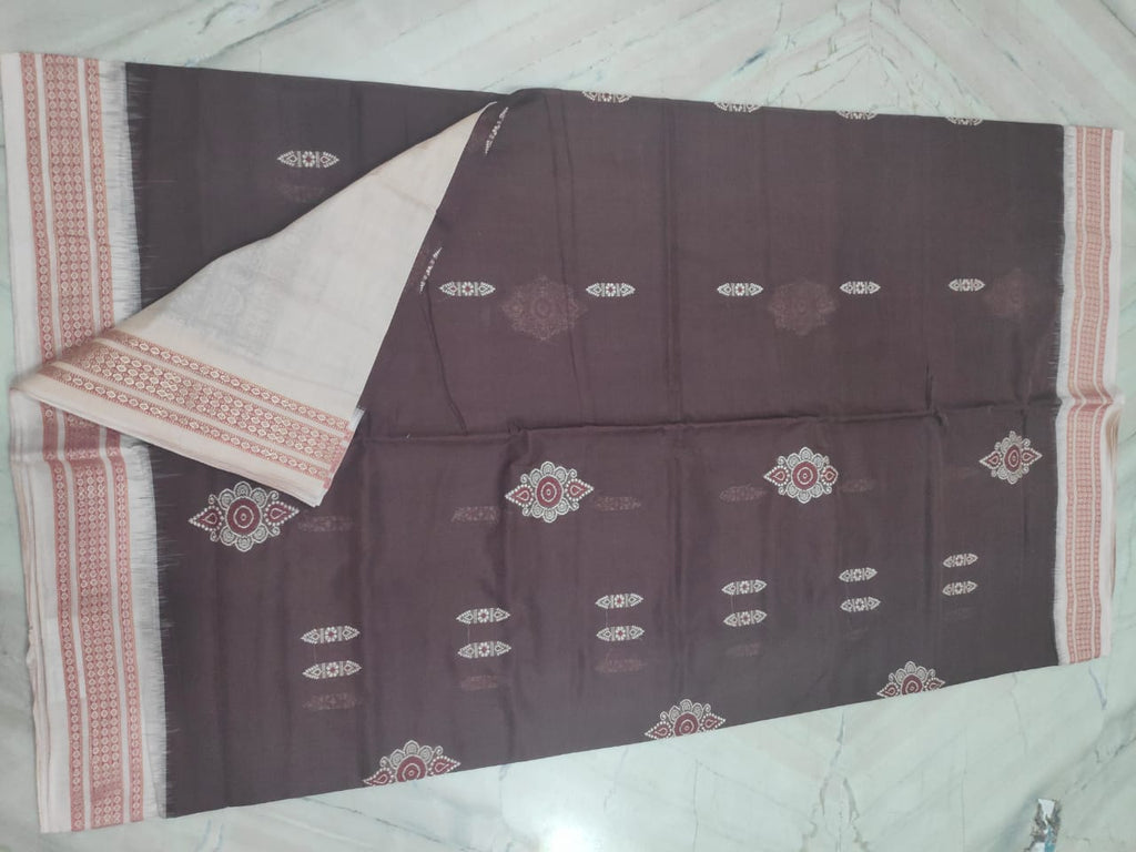 Coffee with Light Matha handloom sambalpuri bomkai cotton saree with matching blouse piece