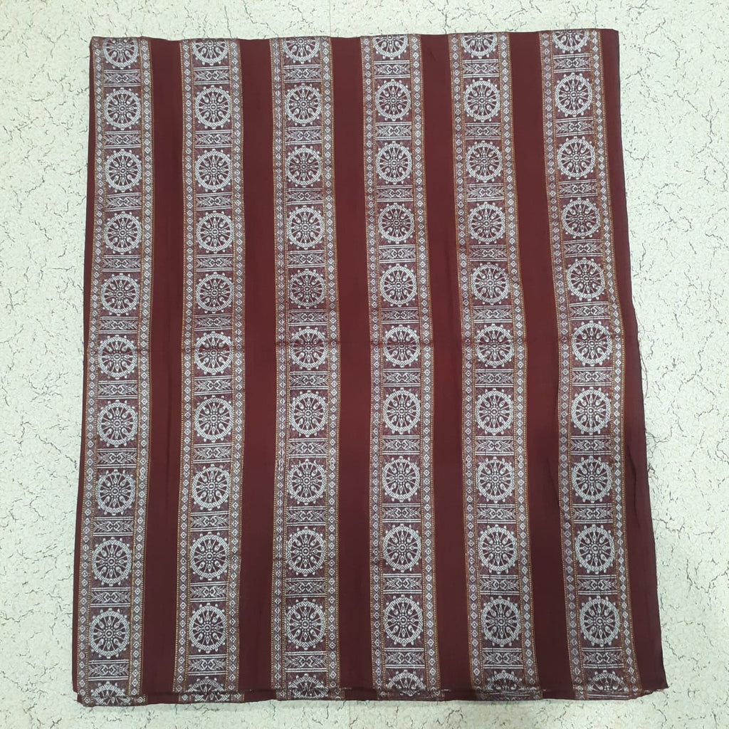 Maroon colour Odisha Handloom Nuapatna Konark Chakra design Ladies cotton Running material