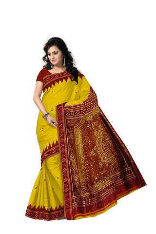 Buti Design Yellow With Red Handloom silk saree of Odisha Nuapatna AJODI002605