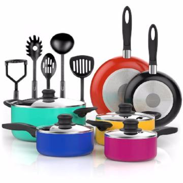 Vremi 15 Piece Nonstick Cookware Set - Colored Kitchen Pots and Pans Set Nonstick - SHOPADON