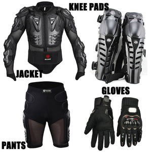 4PCS Motorcycle jackets Racing Motorcross Body Armor Protective Jacket+ Gears Short Pants+Motorcycle Knee Protector+Moto gloves - shopADON