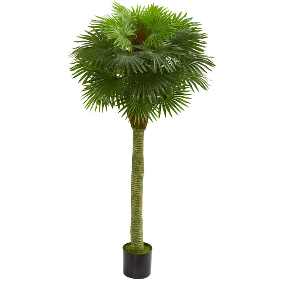 Fan Palm Artificial Tree UV Resistant (Indoor/Outdoor) Nearly Natural - shopADON