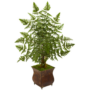 Ruffle Fern Artificial Palm Tree in Metal Planter - shopADON