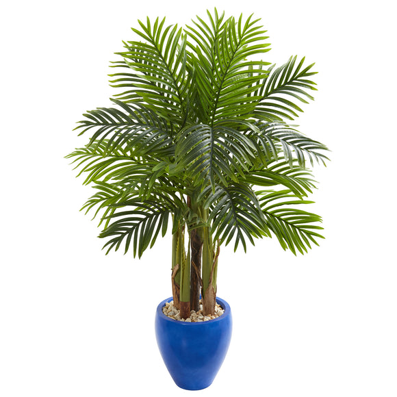 Palm Artificial Tree in Blue Planter - shopADON
