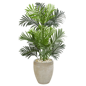 Paradise Palm Artificial Tree in Sand Colored Planter - shopADON