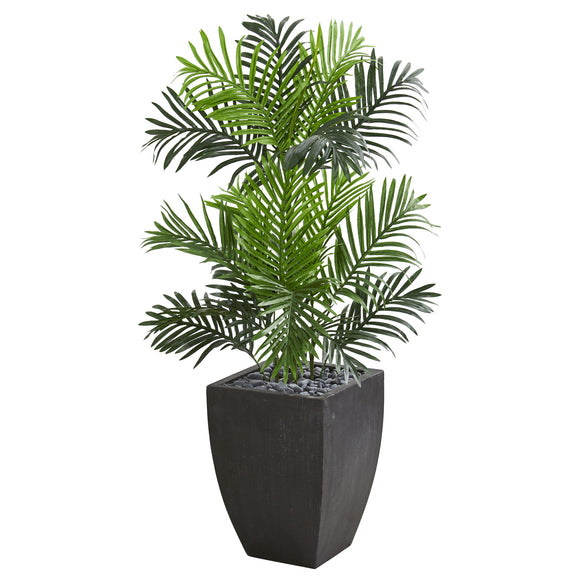 Paradise Palm Artificial Tree in Black Planter - shopADON