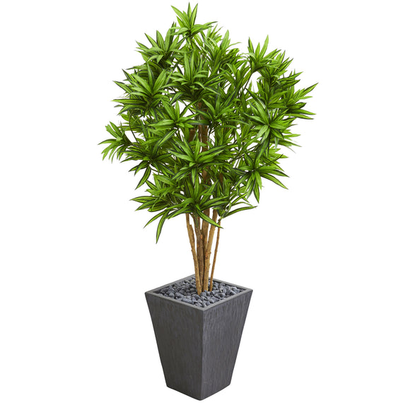 Dracaena Artificial Tree in Slate Finished Planter - shopADON
