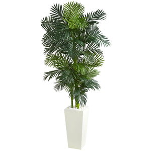 Golden Cane Palm Artificial Tree in White Tower Planter - shopADON