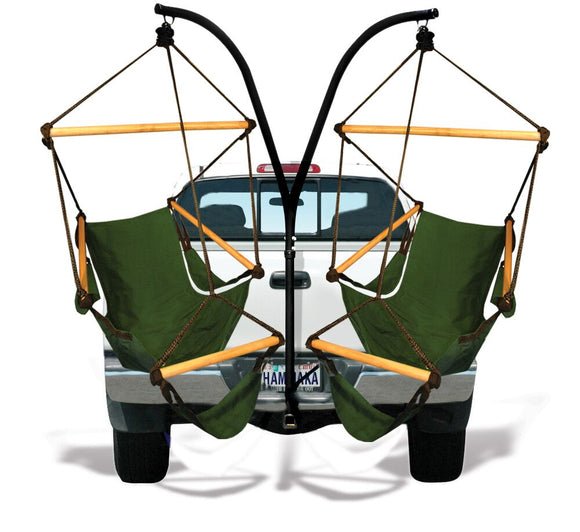 Hammaka Trailer Hitch Stand and Hunter Green Cradle Chairs Combo - shopADON