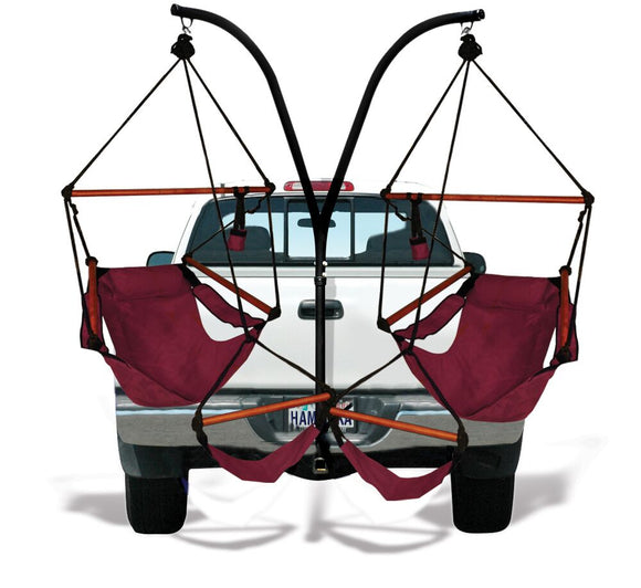 Hammaka Trailer Hitch Stand with Burgundy Hammaka Chairs Combo - shopADON