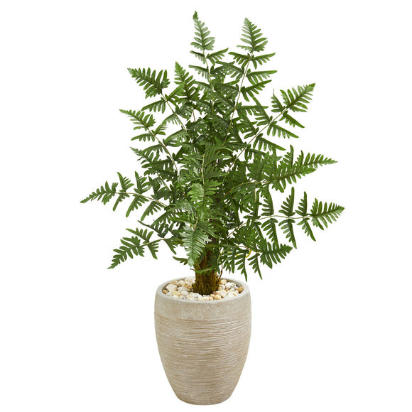 Ruffle Fern Palm Artificial Tree in Sand Colored Planter - shopADON