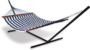 Hammaka Universal Hammock Stand with Blue/White Pillow Hammock Combo - shopADON