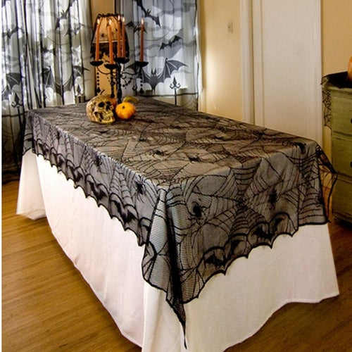 Halloween Spider Web Tablecloth Halloween Black - shopADON