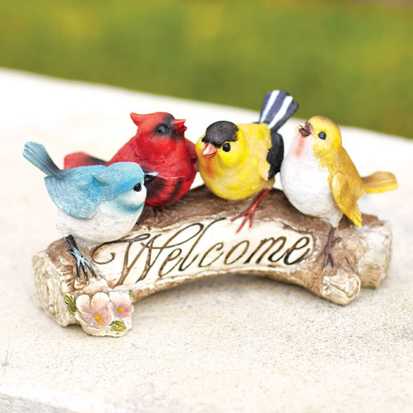 Halsey Welcome Garden Sign Statue Resin Plastic - shopADON