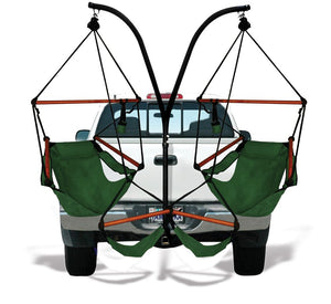 Hammaka Trailer Hitch Stand with Hunter Green Hammaka Chairs Combo - shopADON