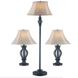 3 Piece Table and Floor Lamp Set Gambier - shopADON