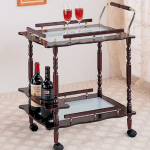 Traditional Style Offerman Glass Top and Wooden Frame Serving Cart with Wine Bottle Storage - SHOPADON