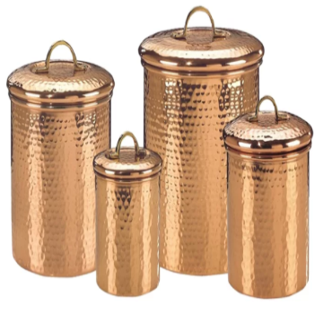 Old Dutch International Copper Clad Stainless Steel Hammered Canister, Set of 4 - shopADON