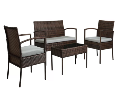 Patio Furniture 4 Piece Sofa Set with Cushions - shopADON