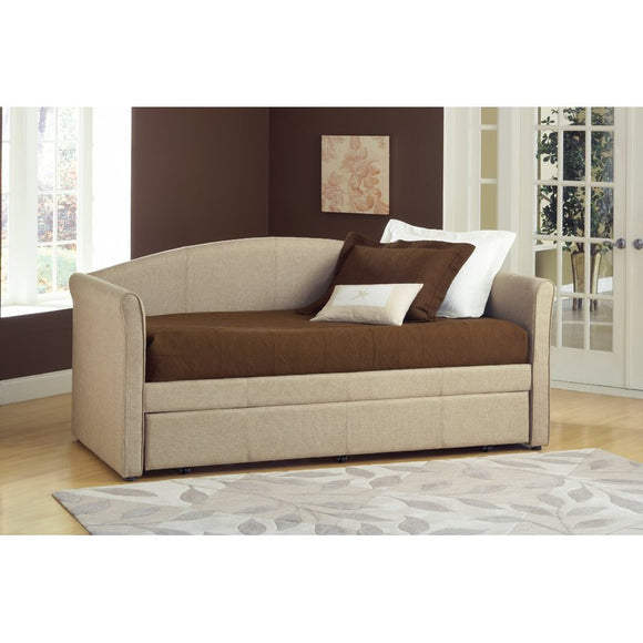 Siesta Daybed with Trundle Covered in a beige tweed fabric - shopADON