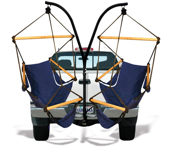 Hammaka Trailer Hitch Stand and Midnight Blue Cradle Chairs Combo - shopADON