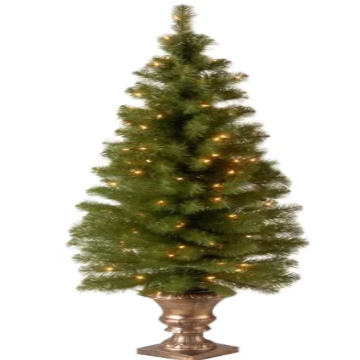 Artificial Christmas Tree with 100 White Lights and Decorative Base - shopADON