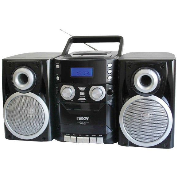 NAXA Portable CD Player with AM/FM Radio, Cassette & Detachable Speakers - shopADON