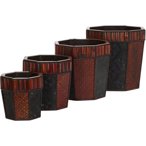Bamboo Octagon Decorative Planters (Set of 4) - shopADON