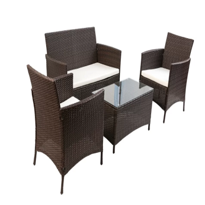 Patio Lounge Furniture Seating 4 Piece Rattan Sofa Set with Cushions - shopADON