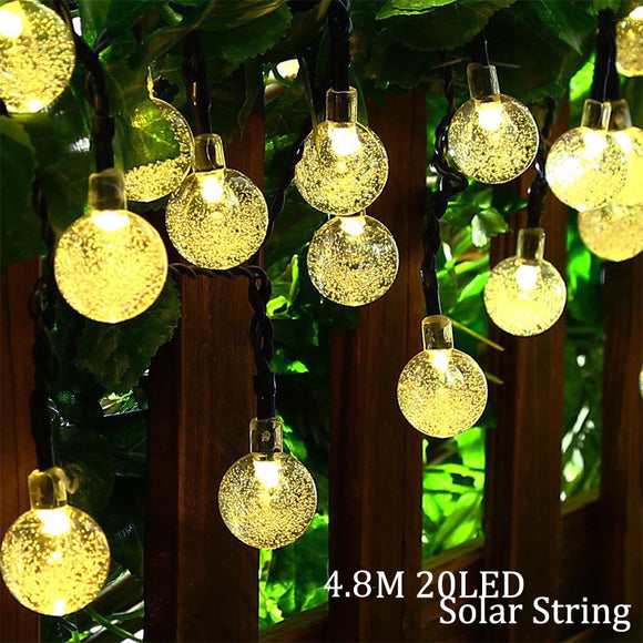 Solar Lamp 4.8M 20LEDs Crystal Ball Waterproof Outdoor solar led string Colorful Warm White fairy light Garden Decoration - shopADON